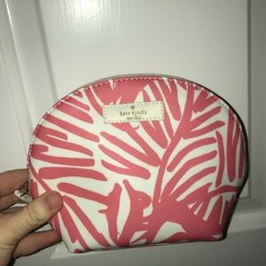Kate Spade Leather Coral Cosmetic Bag